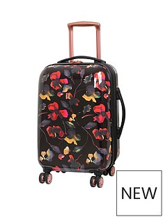 it-luggage-rose-gold-floral-8-wheel-cabin-case