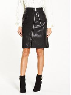 warehouse-faux-leather-biker-zip-skirt
