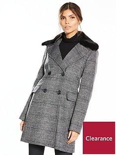 warehouse-nbspcheck-faux-fur-collar-coat