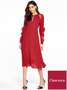 warehouse-ruffle-lace-midi-dress