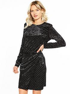warehouse-diamante-stud-velvet-dress
