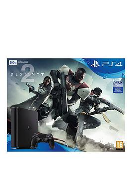 Image of Playstation 4 Slim 500Gb Console (Black) With Destiny 2 Plus Optional Extra Controller And/Or 12 Months Playstation Network - Ps4 500Gb Black Slim Console With Destiny 2