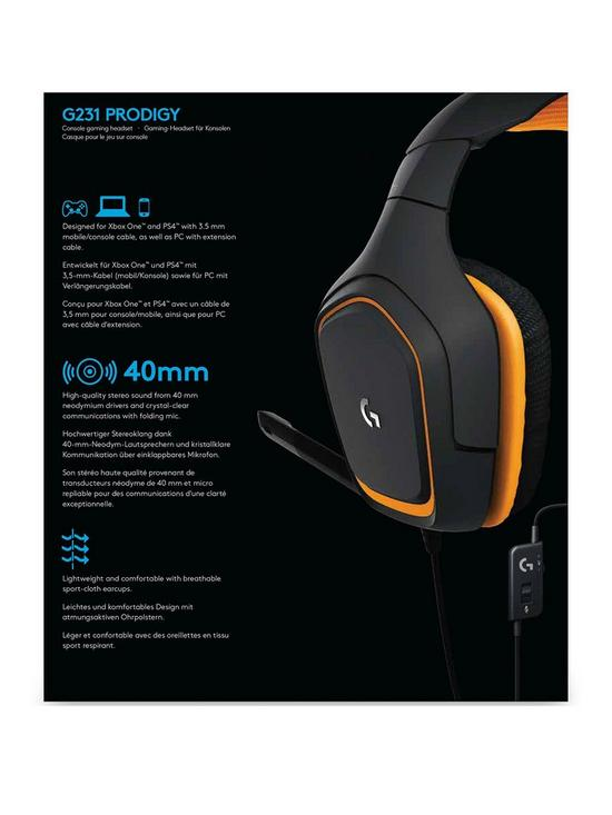 c02d92e962f Logitech G231 Prodigy Stereo Gaming Headset with Microphone for Game  Consoles, PCs, Tablets, Smartphones