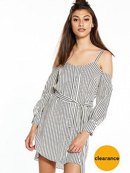 river-island-river-island-stripe-loose-cold-shoulder-dress