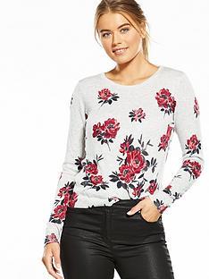 oasis-rosetti-print-knit-jumper-grey-marl