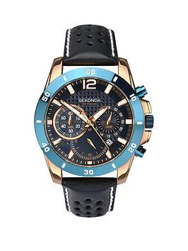 sekonda-sekonda-chronograph-style-dark-blue-leather-strap-mens-watch