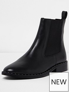 river-island-river-island-joy-studded-rand-flat-chelsea-boot-leather