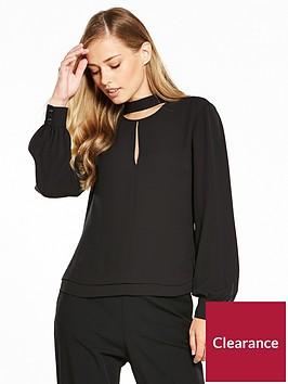 karen-millen-choker-blouse-black