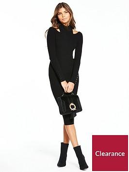 karen-millen-military-popper-ribbed-knitted-dress