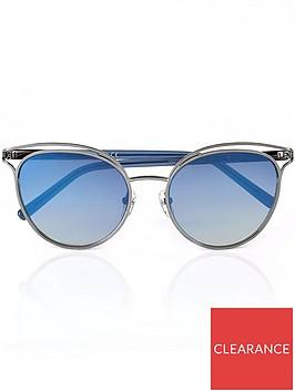 calvin-klein-cat-eye-shaped-cut-away-sunglasses--silver-blue-mirror