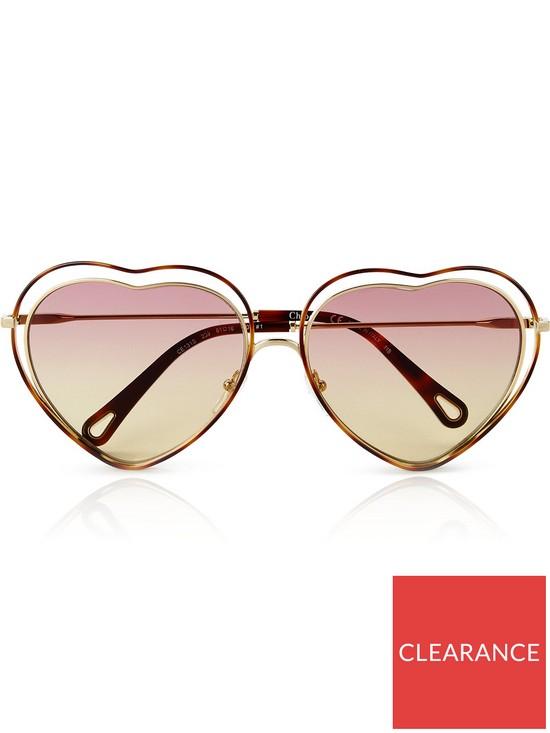facacfdb0c CHLOÉ SUNGLASSES Poppy Love Heart Shaped Sunglasses - Light Pink ...