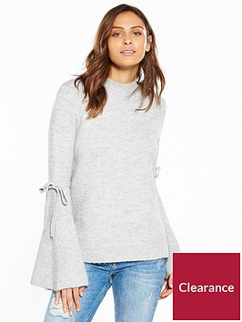 v-by-very-fluted-tie-sleeve-metallic-jumper