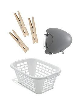 addis-15-metre-retractable-washing-line-with-40-litre-laundry-basket-and-wooden-pegs