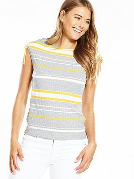 Boss Orange Stripe Drawcord Detail Knitted Top