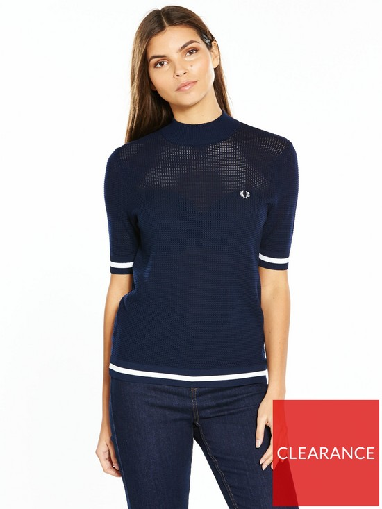 2099d378e Fred Perry Bold Tipped Crew Neck Jumper - Rich Carbon