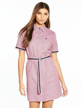 fred-perry-woven-pattern-shirt-dress-claret