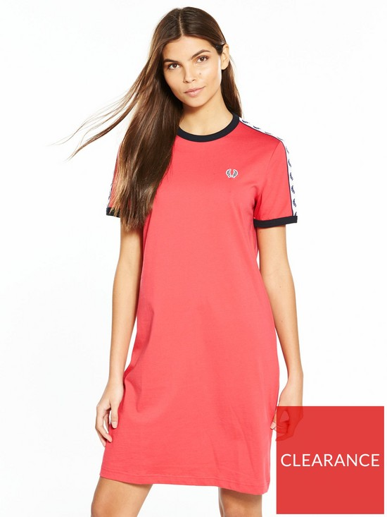 fff4ee152513 Fred Perry Taped Ringer T-Shirt Dress - Chrysanthemum | very.co.uk