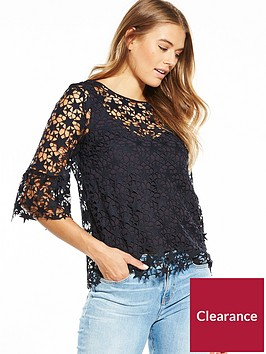 boss-three-quarter-sleeve-star-crochet-blouse-dark-blue