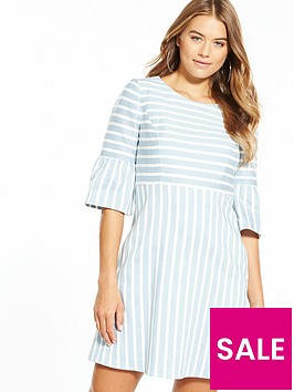 boss-fluted-sleeve-stripe-dress