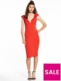 river-island-river-island-plunge-frill-bodycon-dress--red