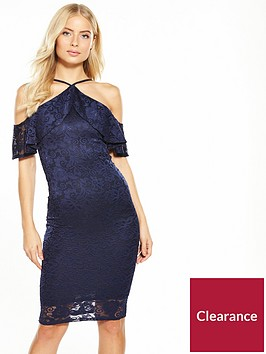 v-by-very-lace-frill-cold-shoulder-dress-blue