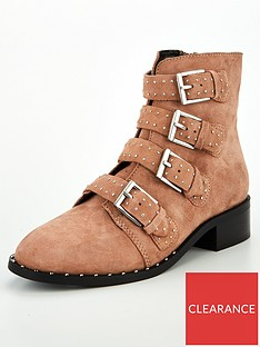 eb6f2533e3 V by Very Nina Real Suede Studded Ankle Boot - Blush