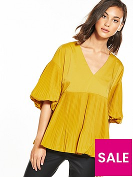 river-island-pleated-yellow-top