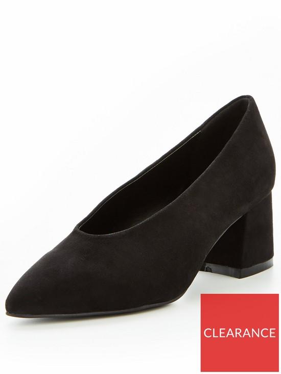 7d267edd937d V by Very Opal High Vamp Low Block Heel Court Shoe - Black