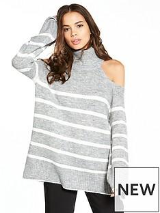 river-island-stripe-cold-shoulder-jumper