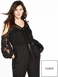 lost-ink-curve-cold-shoulder-top-with-appliqueacutenbspsleeve-black