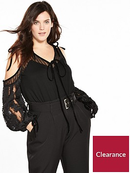 lost-ink-plus-cold-shoulder-top-with-appliqueacutenbspsleeve-black