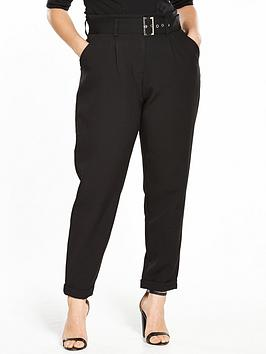 Lost Ink Curve Peg Trouser With Paperbag Waist - Black