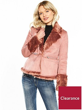 lost-ink-short-skirted-shearling-jacket-pink