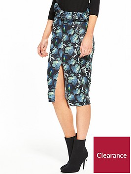 lost-ink-butterfly-print-ruffle-pencil-skirt