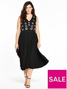 lost-ink-curve-pleated-hem-dress-with-embellishment-black