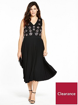 lost-ink-plus-pleated-hem-dress-with-embellishment-black