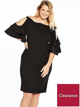 lost-ink-plus-bardot-dress-with-frill-sleeves