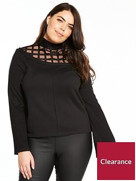 lost-ink-curve-jumper-with-fluted-mesh-sleeves--nbspblack