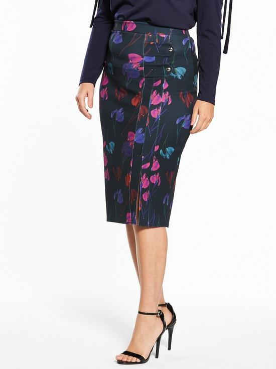 Lost Ink Lost Ink Curve Pencil Skirt In Rainbow Orchid , Multi Women