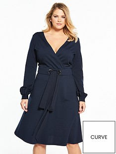 lost-ink-curve-lost-ink-curve-fit-and-flare-dress-with-double-tie