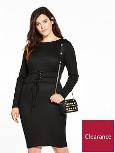lost-ink-plus-slinky-bodycon-dress-with-corset-tie-black