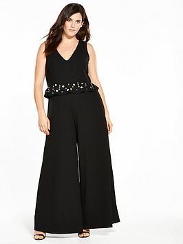 Lost Ink Curve Jumpsuit With Embellishment - Black