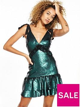 lost-ink-sequin-mini-dress-dark-green