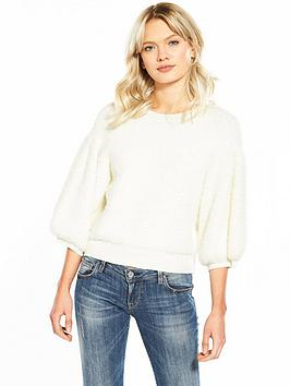 Lost Ink Chubby Puff Sleeve Jumper - Off White