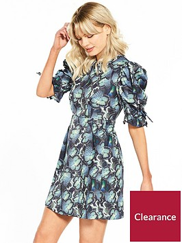 lost-ink-butterfly-print-mini-puff-sleeve-dress