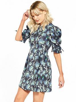 Lost Ink Butterfly Print Mini Puff Sleeve Dress