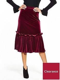lost-ink-velvet-frill-hem-pencil-skirt-burgundy
