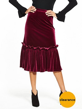 lost-ink-velvet-frill-hem-pencil-skirt-burgundy