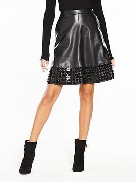 Lost Ink Embellished Hem Pu Flare Skirt - Black