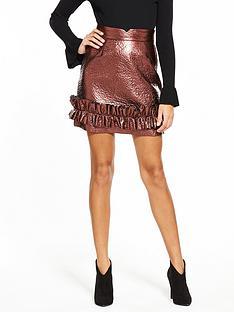 lost-ink-metallic-frill-hem-mini-skirt-rose-gold